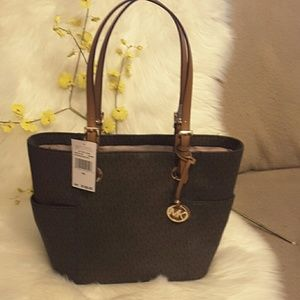 Michael kors jet set EW signature tote leather